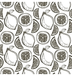 Hand drawn cute lemons pattern seamless vector image
