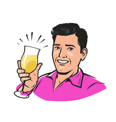 handsome young man with a glass champagne vector image