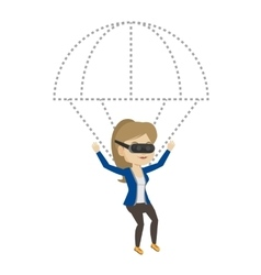 Happy woman in vr headset flying with parachute vector image