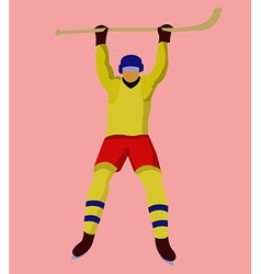 Hockey Player with a hockey stick and skates vector image