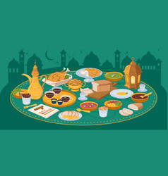 Iftar ramadan banner with food and drinks eating vector