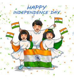 indian kid holding flag of india with pride for vector image