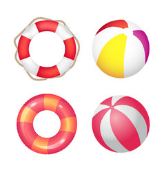 inflatable ring and beach ball set banner vector image