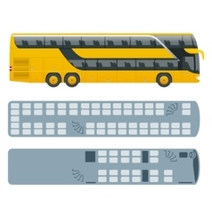 Isometric Double Decker Bus or intercity and plan vector image