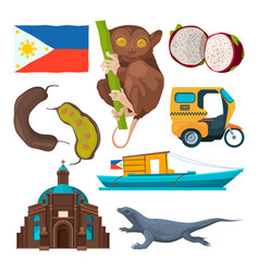 landmarks and traditional symbols of philippines vector image