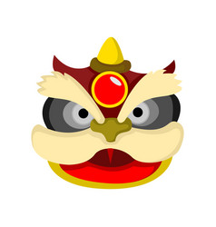 Lion dance cartoon head chinese graphic vector