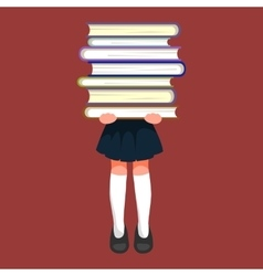 little girl with school books and notebooks vector image