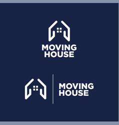 logo moving house blue background vector image