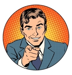 Man pointing finger in circle vector