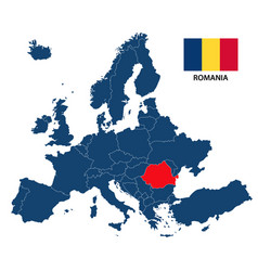 map of europe with highlighted romania vector image