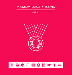 medal with laurel wreath line icon graphic vector image