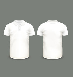 Mens white polo shirt short sleeve vector