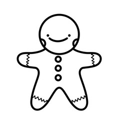 merry christmas celebration gingerbread man thick vector image