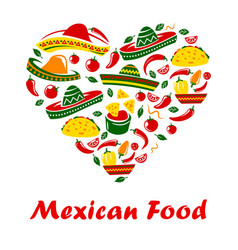 mexican cuisine food heart mexico restaurant menu vector image