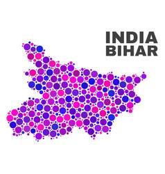 mosaic bihar state map of round items vector image