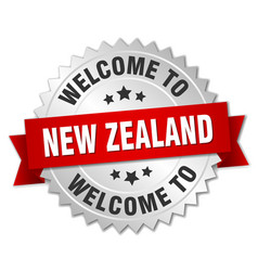 New zealand 3d silver badge with red ribbon vector