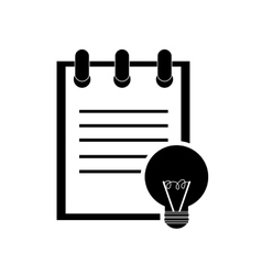 Notepad and regular lightbulb icon vector