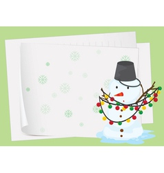 paper sheets and a snowman vector image