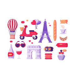 paris famous symbols set vector image