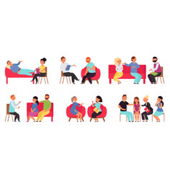 people on psychotherapy support therapy vector image
