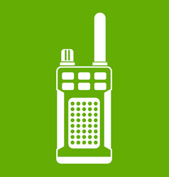 Portable handheld radio icon green vector