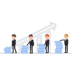 profit growth people stand with increasing profit vector image