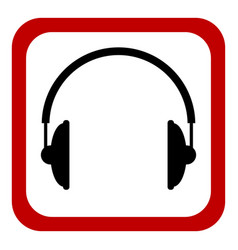 Prohibition sign headphones on white vector