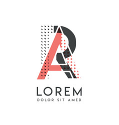 ra modern logo design with gray and pink color vector image
