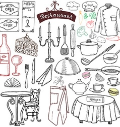 Restaurant sketch doodles set Hand drawn elements vector