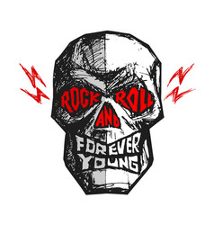rock and roll forever young hand-drawn lettering vector image