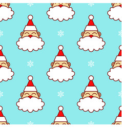 santa claus head in snow seamless pattern vector image