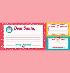 santa letter banner set flat style vector image