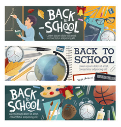 School and education student supplies banners vector