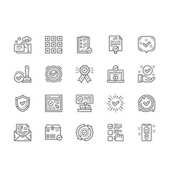 set check mark and approve line icons vector image