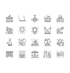 set circus line icons clown swing unicycle vector image