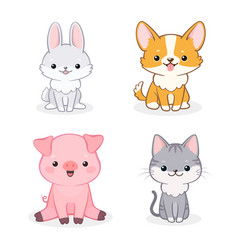 set cute animal isolated on white background vector image
