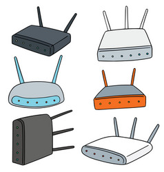 set of wireless router vector image