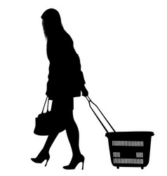 silhouette of a woman walking with shopping cart vector image