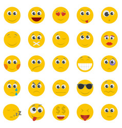 smile icon set isolated flat style vector image