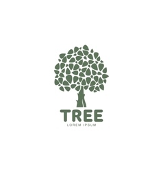 Stylized round shaped green oak tree logo template vector