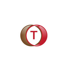 t letter circle logo vector image