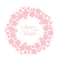 Tender pastel rosy color sakura flowers wreath vector