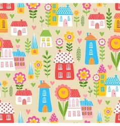 The of the houses and plants vector image