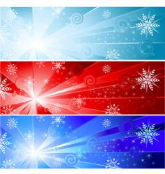 three banner with a snowflake vector image vector image