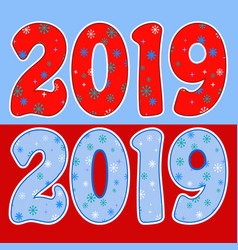 two 2019 designs with snowflake patterns vector image