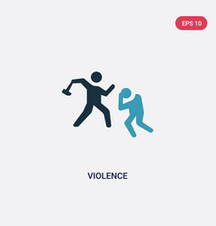 Two color violence icon from law and justice vector