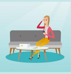 unhappy caucasian woman accounting home bills vector image