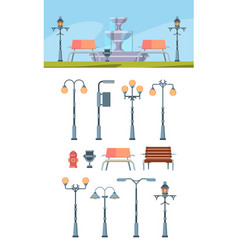 urban street lights set city lighting lamps vector image