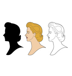 Vintage woman profile vector