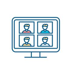 Virtual classroom rgb color icon vector